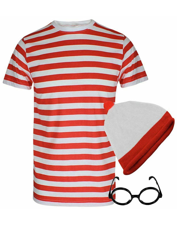 Child Red White Stripe Instant Kit Boys Girls Book Week Fancy Dress Costume