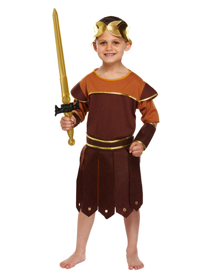 Boys Roman Soldier Costume Child Gladiator Fancy Dress Book Week Outfit