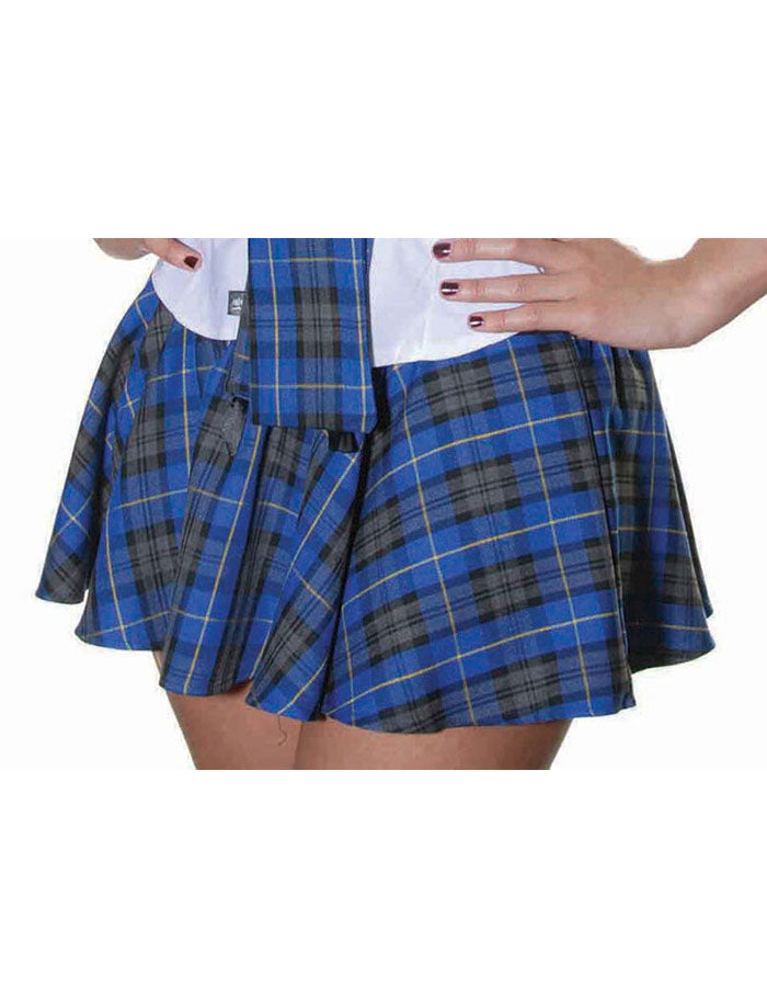Ladies Womens Blue Circular Tartan Mini Skirt Check Bow Dance Skater Skirts