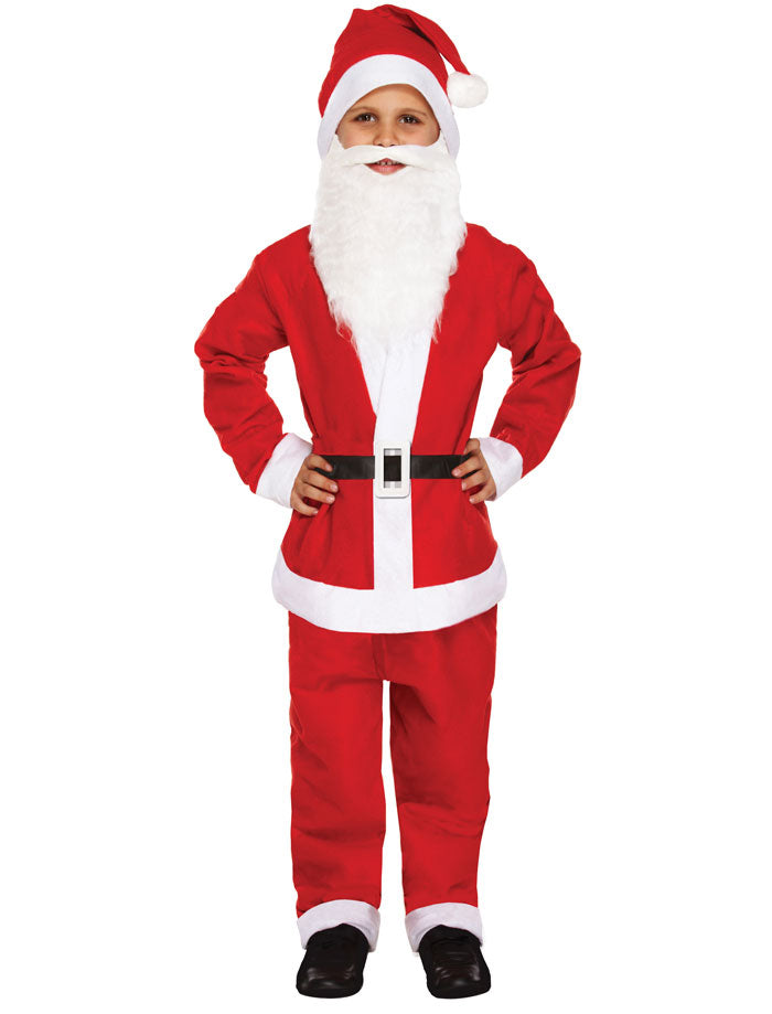 CHILDREN BOYS SANTA 5 PCS SUIT WITH BEARD FATHER CHRISTMAS FANCY DRESS COSTUME OUTFIT