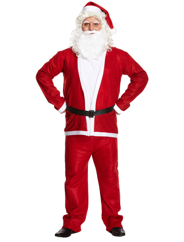 Mens Santa Claus 5 Pcs Costume Father Christmas Fancy Dress Xmas Party Outfit
