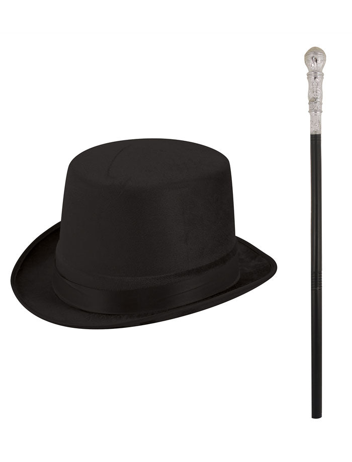 Men Factory Owner Top Hat Cane Set Boys Book Week Fancy Dress Accessory
