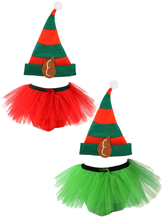 Girls Elf Tutu Costume Kids Children Christmas Party Santa Helper Fancy Dress