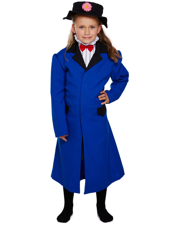 Girls Victorian Nanny Costume Mary Poppins Child Book Week Fancy Dress Outfit