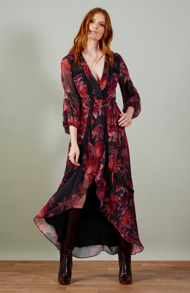 Maxi Wrap Dress With Blouson Tuck Sleeves