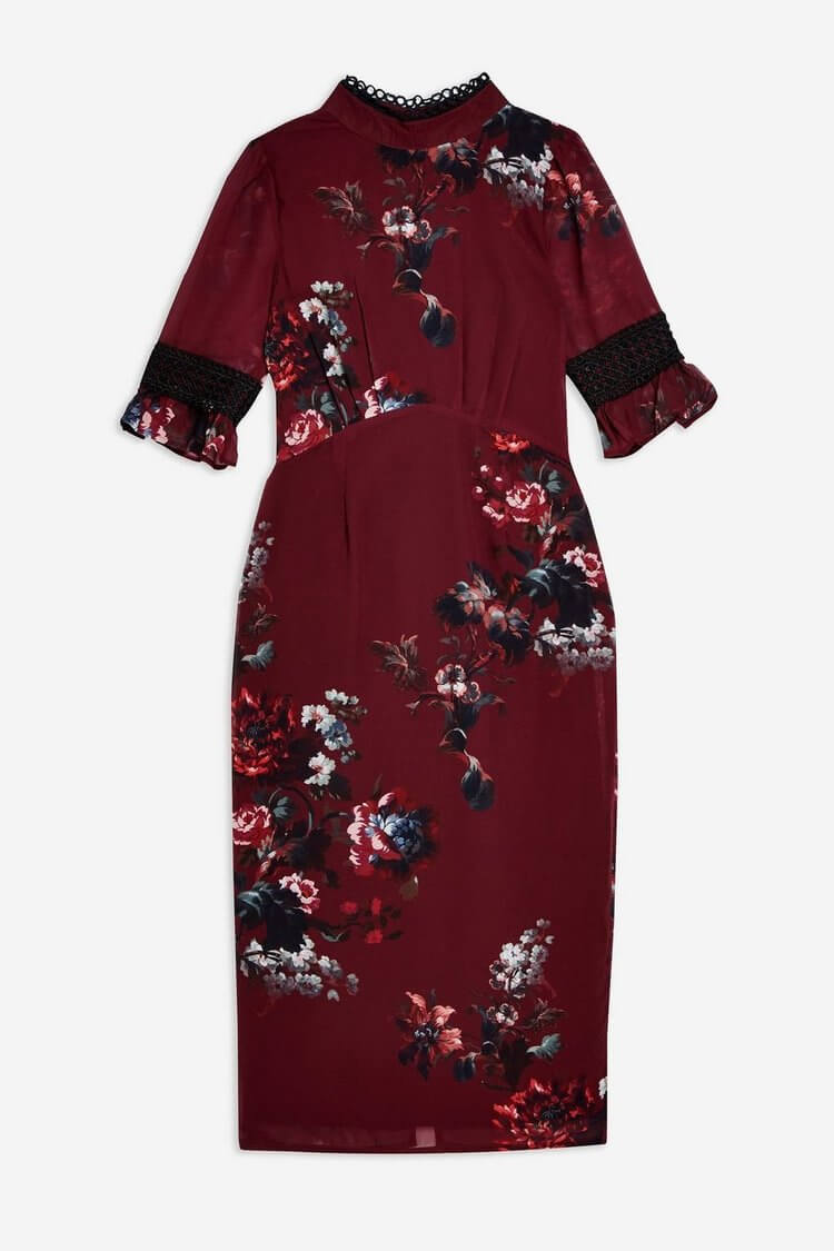 Floral Pencil with Frill Sleeves