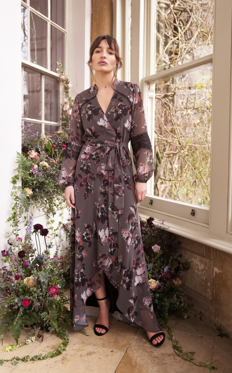 Bridesmaid Long Sleeve Floral Wrap Dress