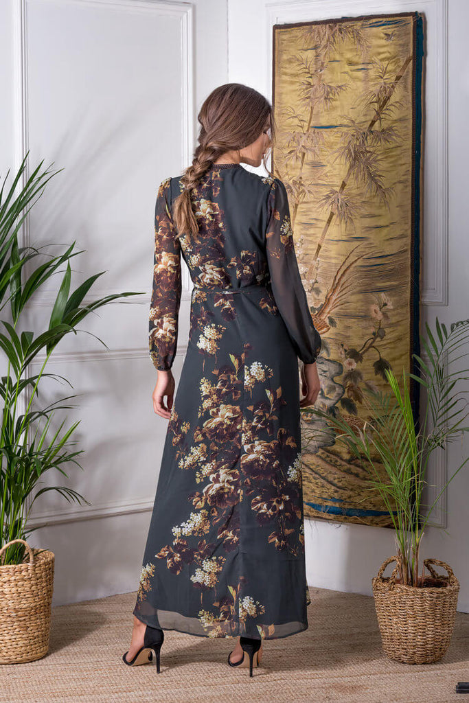Floral Long Sleeve Maxi with Lace Neck Trim