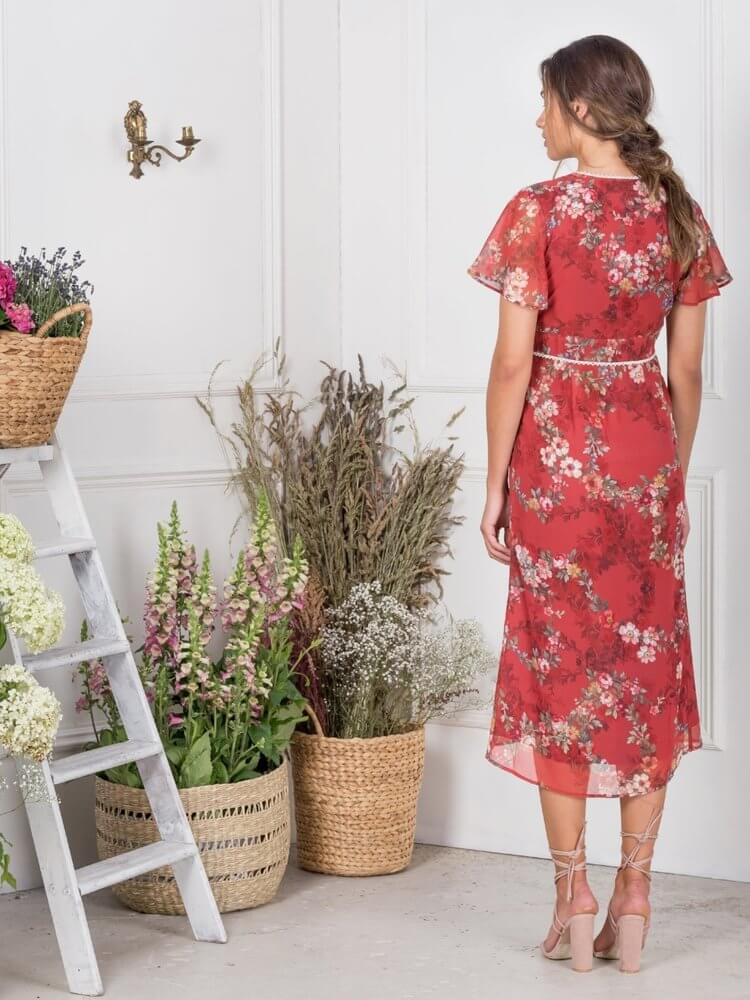 Red Floral Fitted Midi with Vintage Buttons