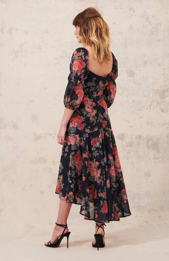 High Low Midi Dress with Sweetheart Neck