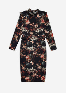 Floral Pencil Dress with Ruffle Sleeves