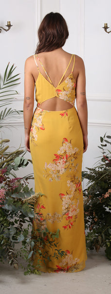Plunge Front Maxi With Tulip Hem and Open Back