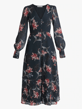 Load image into Gallery viewer, Mix Scale Floral Print Long Sleeve Skater Dress