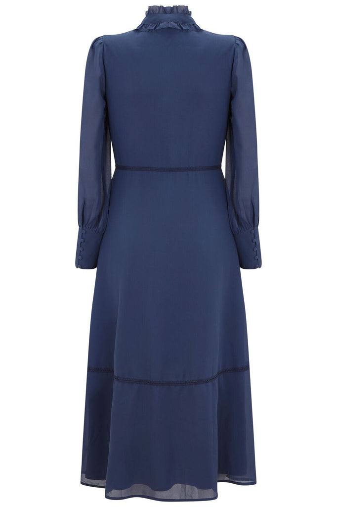 Navy Embroidered Long Sleeve Midi With Collar