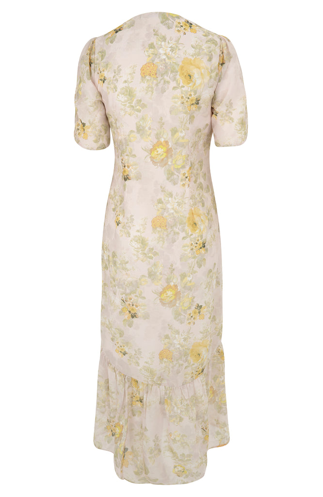 Floral Button Front Midi With Ruched Sleeve