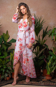 Mix Scale Floral Print Maxi Dress with Tie Waist