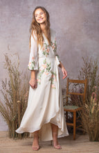 Load image into Gallery viewer, Embroidered Wrap Maxi Dress with Tie Waist