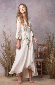 Embroidered Wrap Maxi Dress with Tie Waist
