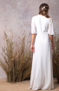 Bridal Beaded Maxi Gown with Plunge Neck