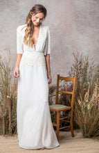 Load image into Gallery viewer, Bridal Beaded Maxi Gown with Plunge Neck