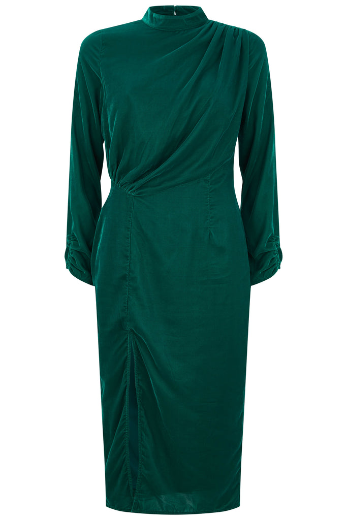 Velvet Ruched Body Midi With Thigh Split