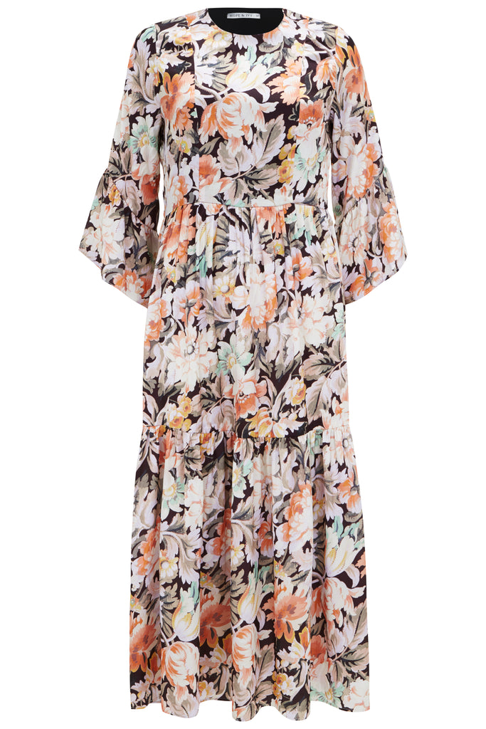 Midaxi Dress with Kimono Sleeve and Cut Out Back