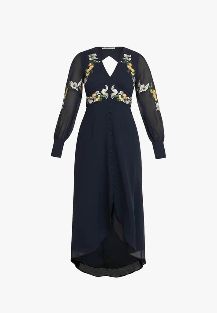 Embroidered Button Front Midi Dress