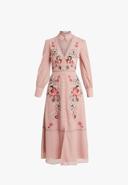 Embroidered Long Sleeve Midi With Collar