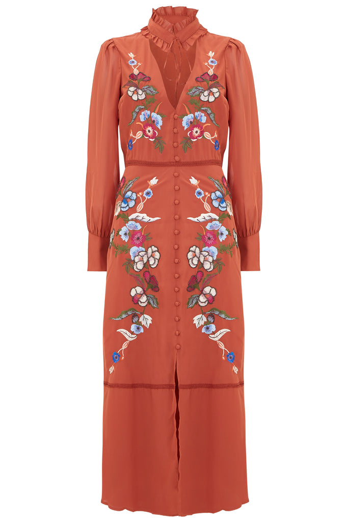 Rust Embroidered Long Sleeve Midi With Collar