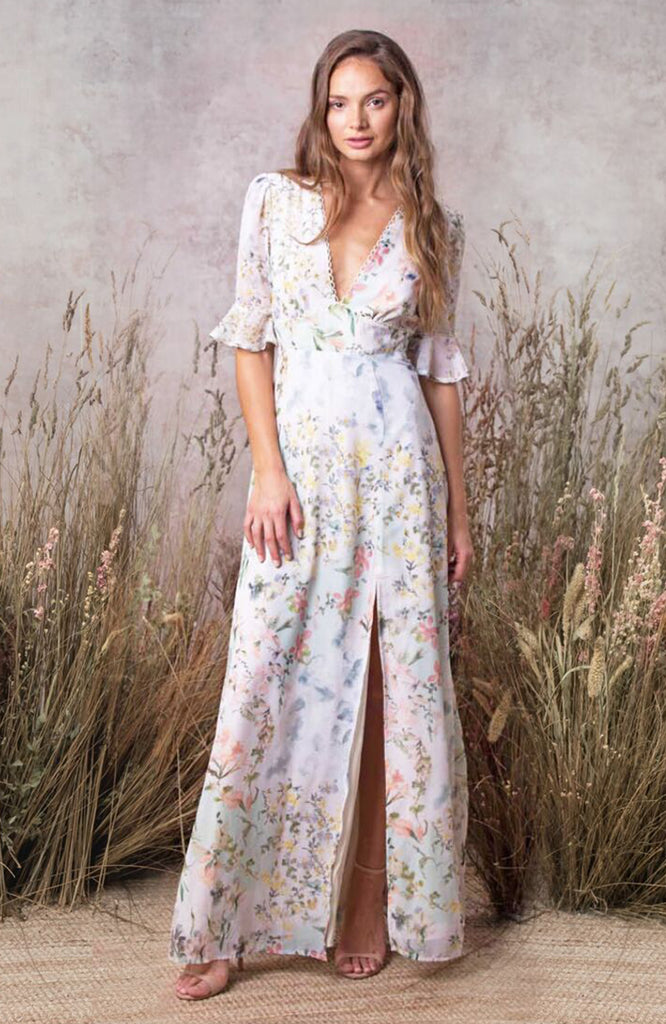Short Sleeve Maxi Dress With Cut Out Back