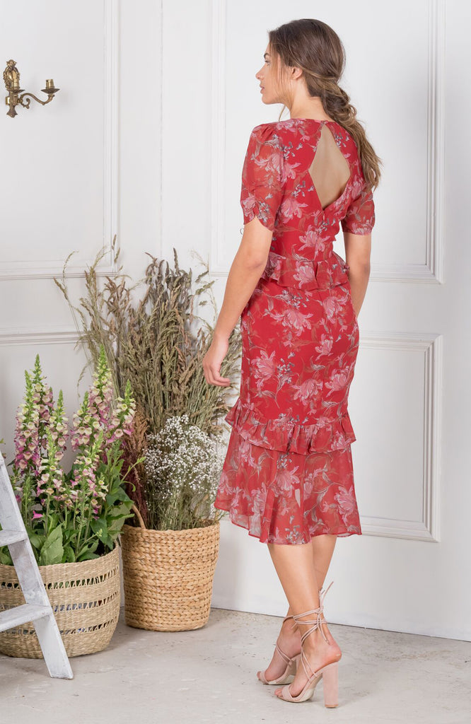 Red Floral Peplum Waist Dress with Drop Hem