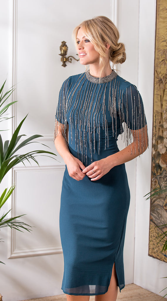 Embellished Fringed Midi Dress