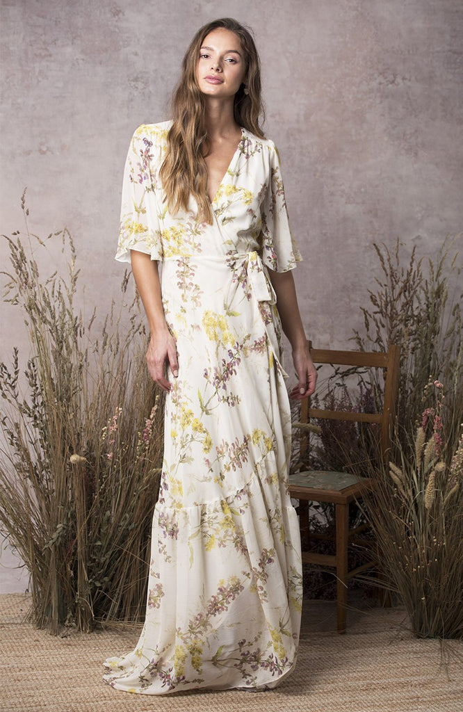 Fluted Sleeve Wrap Maxi Dress With Tiered Hem