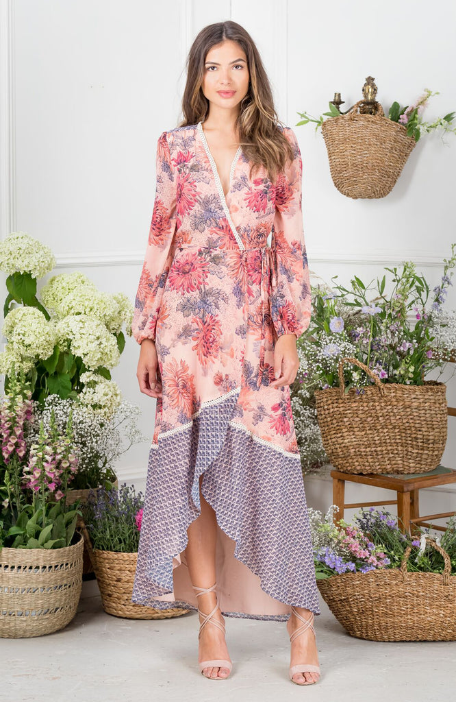 Contrast Print Long Sleeve Wrap Maxi