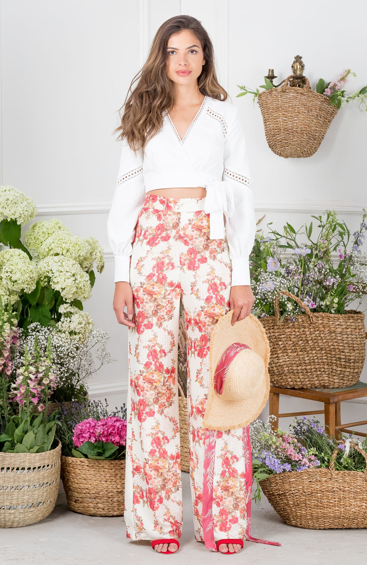 Floral High Waisted Wide Leg Trousers