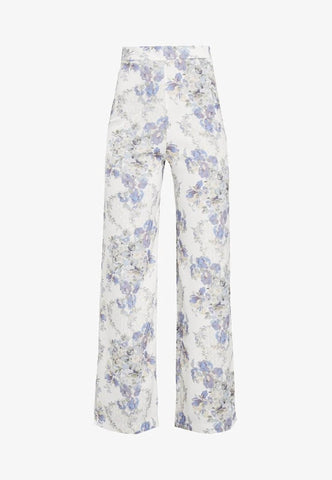 Floral Blue High Waisted Wide Leg Trousers