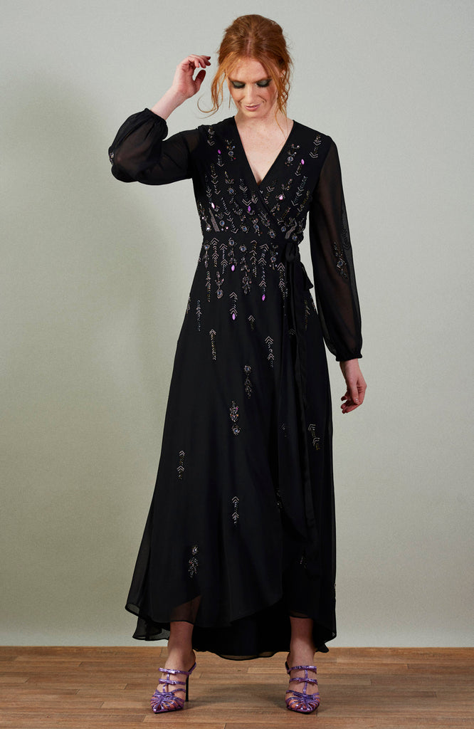 Embellished Wrap Maxi Dress