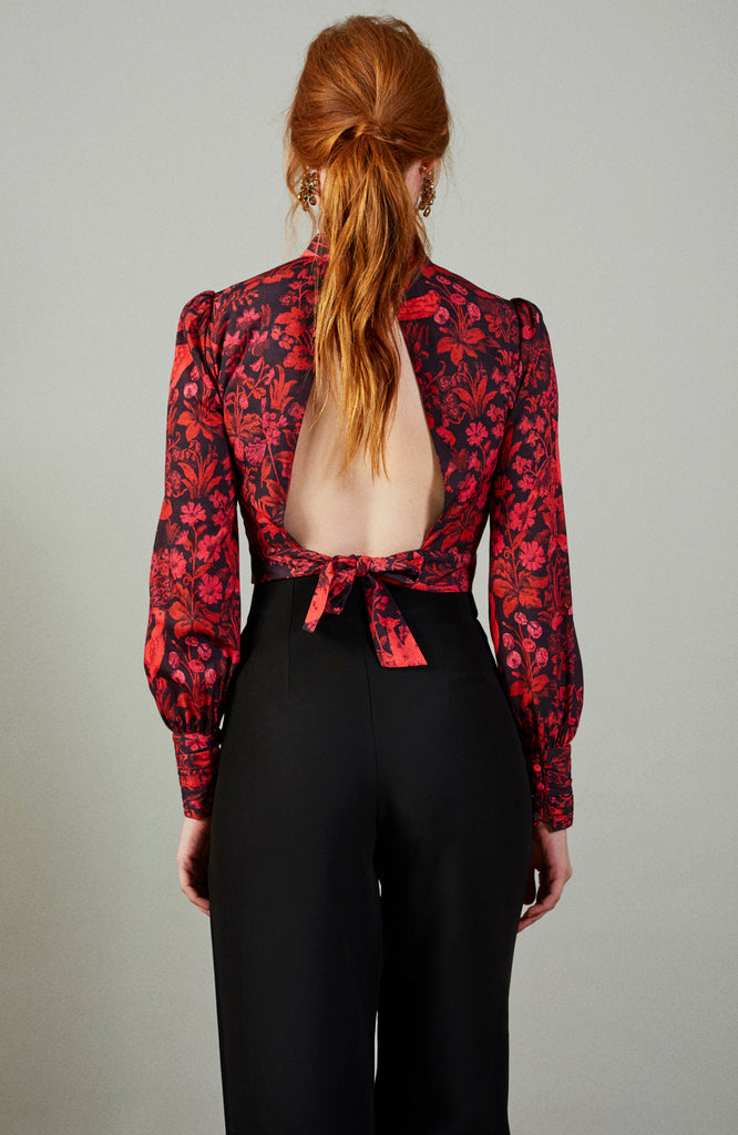 Red Open Back High Neck Top