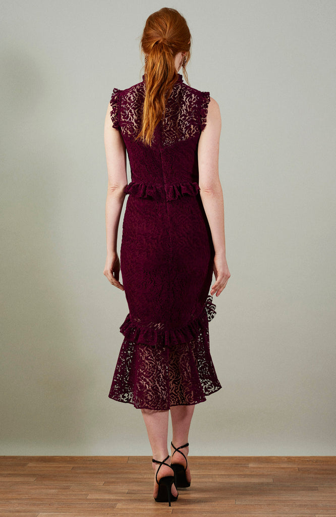Velvet Lace Midi Dress With Collar