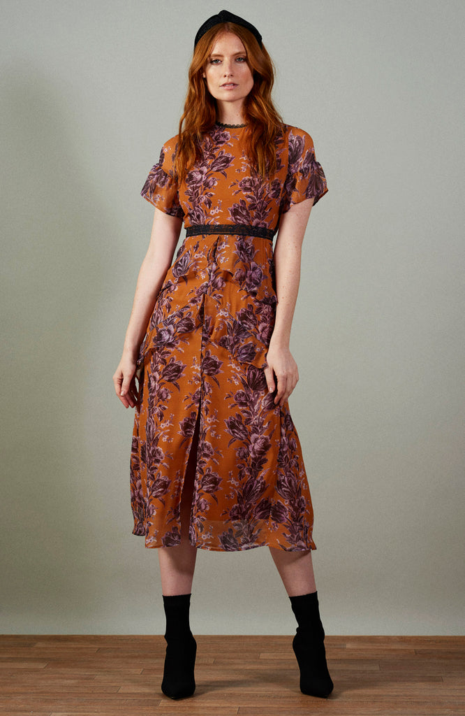 Ochre Floral Midi Dress