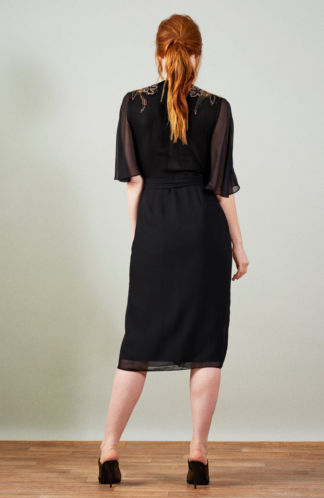 Angel Sleeve Embellished Wrap Dress