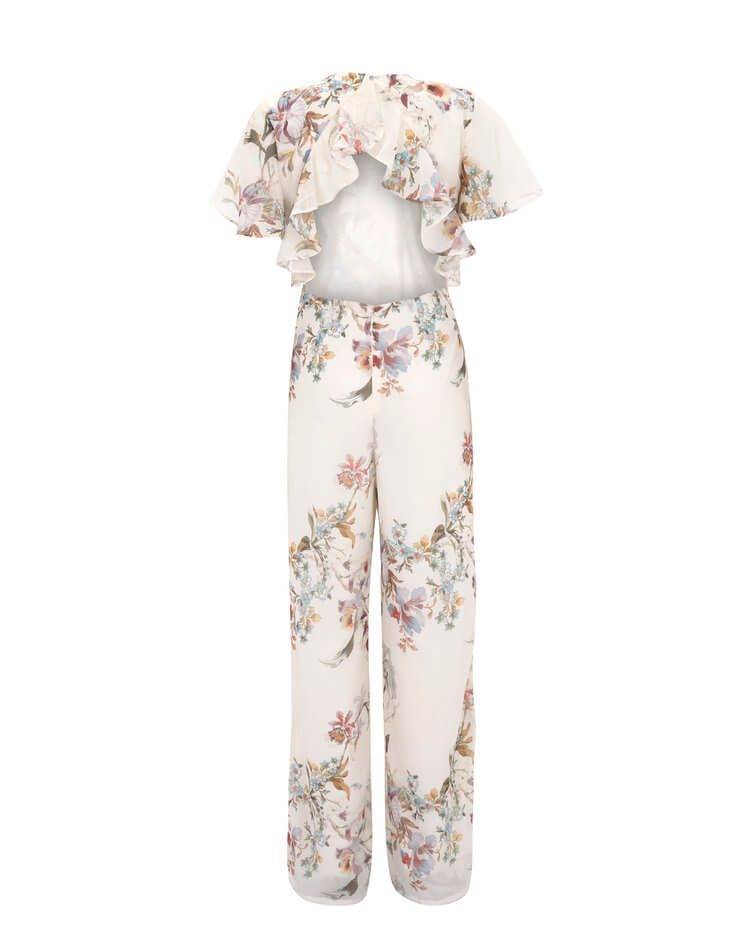 Open Back Floral Jumpsuit