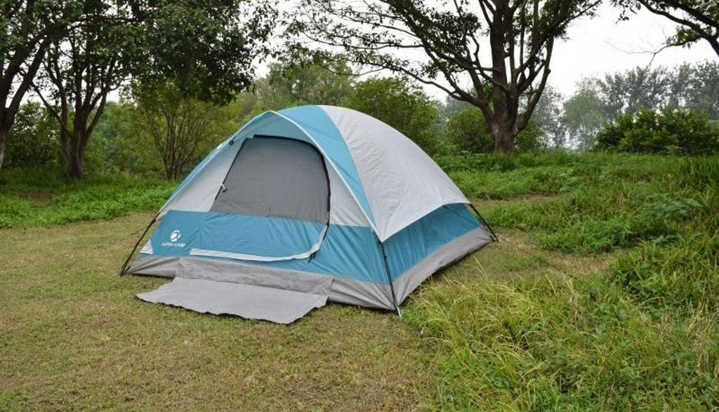 ALPHA CAMP 4 Person Camping Tent with Mud Mat - Dome Design 9' x 7'