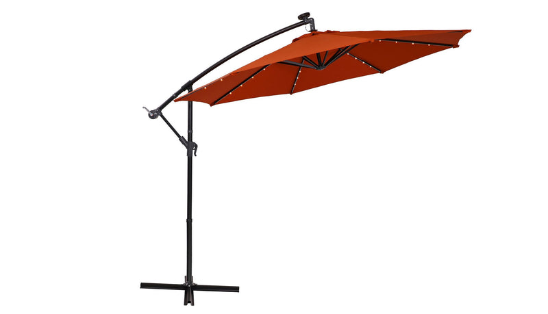 PHI VILLA 10ft Offset Hanging 32 PCS LED Lights Solar Patio Umbrella