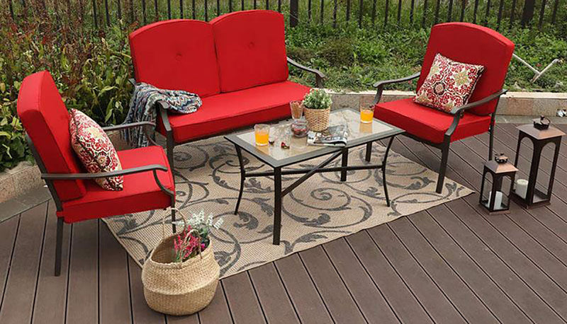 PHI VILLA Patio 4 PC Padded Outdoor Conversation Set