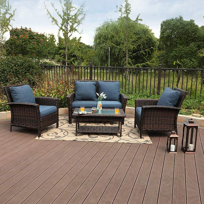 PHI VILLA 4 PC Patio Wicker Furniture Set Rattan Sofa Set