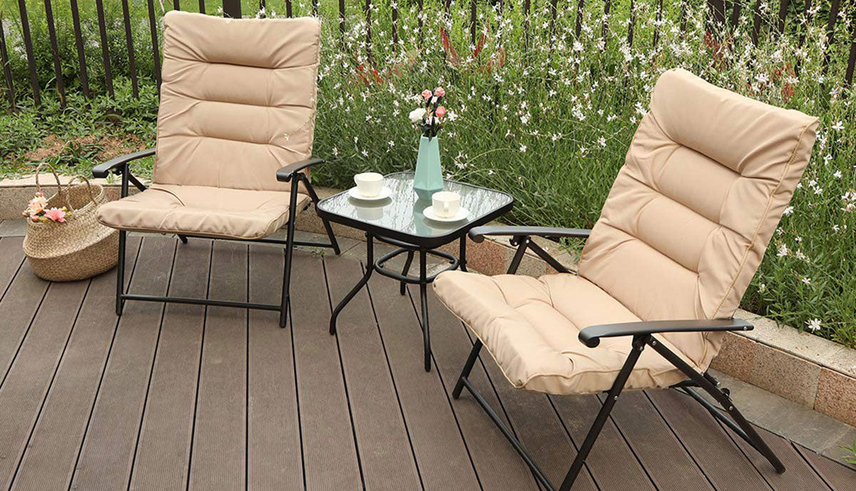 PHI VILLA Patio 3 PC Padded Folding Chair Set Adjustable Reclining Indoor Outdoor Furniture