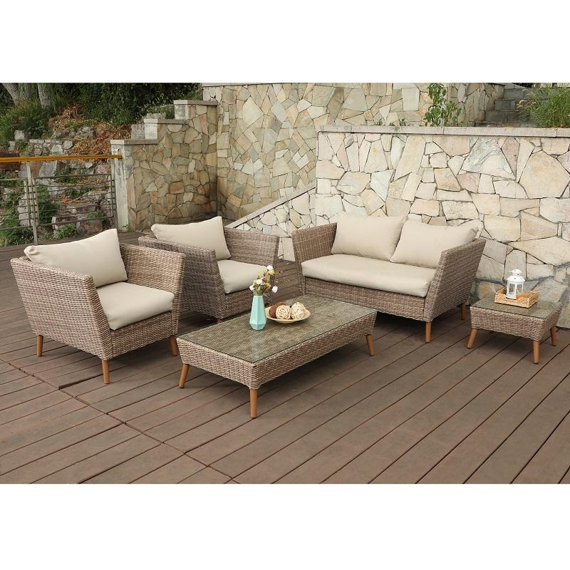 PHI VILLA Outdoor Patio Gradual Changing Color Rattan Wicker Sofa