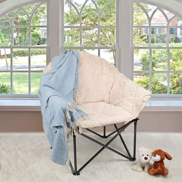 ALPHA CAMP Folding Oversized Padded Plush Moon Saucer Chair