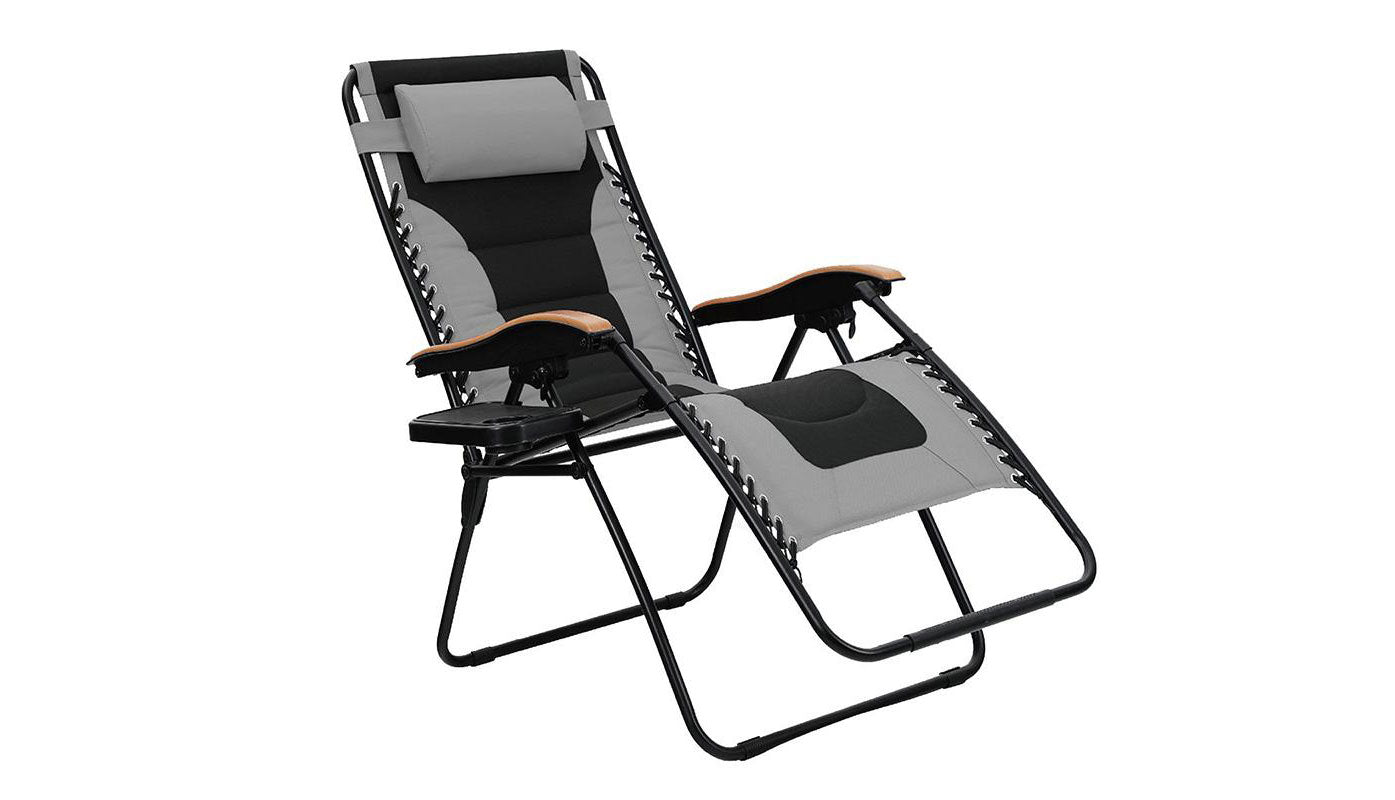 PHI VILLA Oversize XL Padded Zero Gravity Lounge Chair with Wooden Armrest
